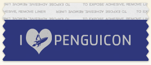 "a blue flat ribbon with silver ""I (heart) Penguicon"" for text."