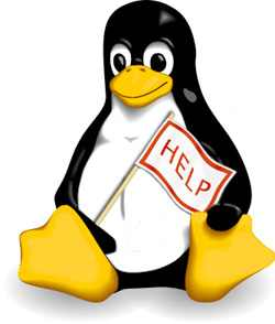 Linux mascot, Tux, holding a help sign