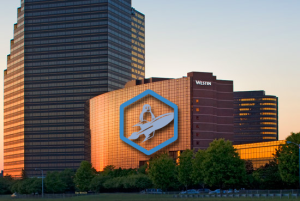 Image of The Westin Southfield Detroit with the Penguicon Logo imposed on the hotel